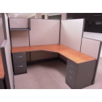 "Remanufactured 6' x 6' x 67"" high step down to 47"" high Herman Miller AO2 Cubicles"
